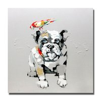Wholesale Cheap Large Canvas Oil Painting - Free shipping cute pet dog picture modern home decoration canvas dog oil painting free shipping large canvas art cheap