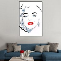 Modern Minimalism Black-White-Red Art Painting Marilyn Monroe Stampato Wall Decor Canvas Immagine 60x40cm Senza cornice