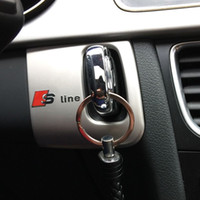 ingrosso audi logo emblema-Tappo decorativo per interni auto buco della serratura cornice decorativa Trim Acciaio inox RS S logo emblema auto 3D striscia adesivo per Audi A5 A4 09-15