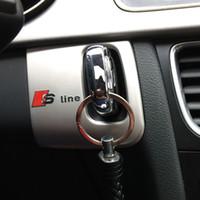 r 3d logo al por mayor-Venta al por mayor del coche interior del ojo de cerradura cubierta decorativa del marco de la línea de acero inoxidable RS S logotipo del emblema del coche etiqueta engomada de la tira 3D para Audi A5 A4 09-15