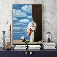 Wholesale Night Artists - ZZ2030 The School Master Good Night Moon Men Woman by Artist Rene Magritte Canvas Art Print Painting Poster Wall Decor Home Decor
