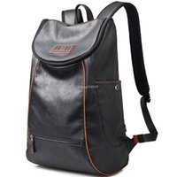 Wholesale Shoulder Strap Bag Leather - Nice NEW PU Leather Quality Soft Shoulder Strap Black Men€s Backpack Streamline Trval Laptop Bag Interior Compartment