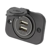 zócalo dual del usb 12v al por mayor-12V 1A 2.1A Coche Motocicleta Dual USB Socket Splitter Cargador de coche Adaptador de corriente LED Impermeable para iPhone MP3 MP4 teléfono móvil venta caliente