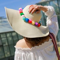 Wholesale Tall Derby Hats - Wide brim sun hat with pom pom sun protection straw beach caps 3 colors available free shipping