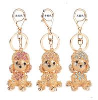 Wholesale Korean Crystal Keychain - Korean Style Poodle Dog Women Key Rings Engagement Key Chain Novelty Crystal Diamond Keychain Festival Wedding Gifts Key Fashion Accessories