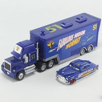 Wholesale Brand New Trucks - Pixar Cars No.51 Mack Truck & Fabulous Hudson Hornet Metal Toy Car For Children 1:55 Loose Brand New In Stock Lightning McQueen