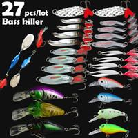 Wholesale bass fishing lures online - 27Pcs Spoon Crank Baits Lure Kit Set Spinner Rock Crankbait Beveling Chamfer Paillette Fishing Lure Stosh Reflective Luminous Bass