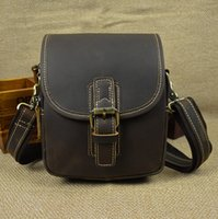 Wholesale Small Leather Messenger Bag Men - Men's genuine leather shoulder bag Brown Cow leather small cowhide waist bag Real Leather messenger bag