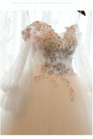 Wholesale Korean Up Skirts - Wedding Dresses 2017 Real Pictures New Korean Princess Dream Palace Wedding Gown Hand Flowers Bride Dresses