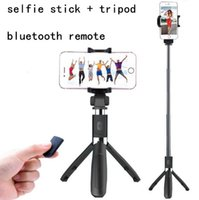 Wireless Stainless Steel  New stryle Selfie stick+ Tripods+ bluetooth timer selfie monopods Extendable Self Portrait Selfie Handheld Stick remote shutter