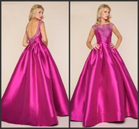 Wholesale Hot Celebrity Dresses For Cheap - Fuchsia Satin Dress For Party A Line Evening Gowns Cheap Celebrity Dresses Crystals Beaded Backless Sexy Long Dress Bateau Neck Hot Sale