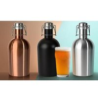 64oz Beer Bottle Metal Stocked 3 Colors 64oz Stainless Steel Beer Growler Swing Whiskey Cold Beer Bottle With Lid Hip Flask Wine Pot CCA8018 10pcs
