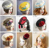 Wholesale Hairclip Hairpin - Fascinators Hat Lace Pearl Tiara Hairpin Headpiece headdress Banquet Small Bailey Hat Mesh Flower Hairclip Fascinator Hats For Wedding Party