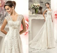 Wholesale satin pregnant - 2016 New Modern Empire Wedding Dresses Cap Sleeve Lace Appliques Maternity Pregnant Tulle Long Court Train Plus Size Hollow Back Bridal Gown