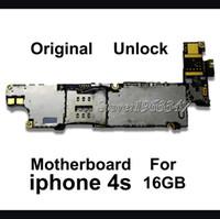 telefone 4s 16gb venda por atacado-Atacado-Desbloqueado Original 16GB Phone Mainboard Para 4S, 100% Trabalhando Versão da UE Motherboard Com Placa de Lógica Chips Cheia