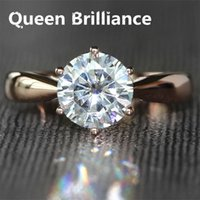 Queen Brilliance Beautiful 2 Carat ct F Mariage de mariage Wedding Moissanite Diamond Ring Genuine 14K 585 Rose Gold For Women 17903