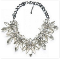 Wholesale Gemstone Resin Statement Choker Necklaces - ZA*A New Gemstone Flower Pendant Necklace Fashion Clear Drop Crystal Bib Statement Necklace Women Jewelry For Christmas Gifts Free shipping
