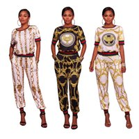 Wholesale Sexy T Pants - 2017 New arrive famous brand casual two piece set women o-neck short sleeve t-shirt and sexy print full length pant