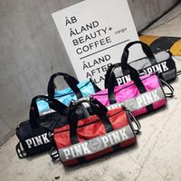 Wholesale large red bowl - Fashion Women Handbags Love Pink Large Capacity Travel Duffle Striped Waterproof Beach Bag