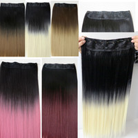 Wholesale ponytails for sale - Clip in Ponytail synthetic Straight hair g inch ombre two colors synthetic hair extensions best selling