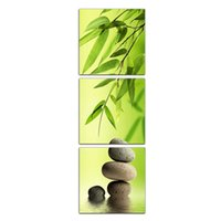 Wholesale Oil Painting Bamboo - 3 Picture Combination Green Bamboo Abstract Oil Printings Picture Spray Printing Stone Water Decorative for Living Room