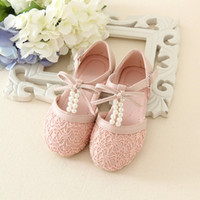 Wholesale Ivory Girls Party Shoes - 2016 spring and summer New Fashion Kids Pink and Ivory Pearl Flower Girls Shoes Bow Sandals Princess Shoes Girls Party Shoes