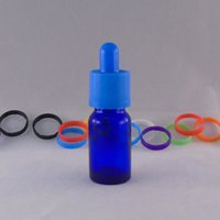 Wholesale Dropper Blue Bottle - 2pc 10ml sample eliquid round bottle blue empty Dropper bottle E-juice Glass Bottle with Childproof Cap free shipping