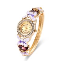 Wholesale Swarovski Pave - Classic Diamond Watch Enamel Pattern Flower Design Pave Swarovski Stone Luxury Ladies Watches 58*48mm Diameter Bangle Watches For Women