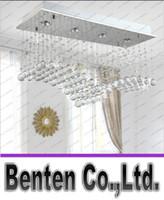 Wholesale Cristal Ceiling - Modern Wave Shape K9 Crystal Ceiling Lighting Hanging From LED Lights Wire Bar Restaurant Shop Rectangular Cristal Ceiling lamp LLFA