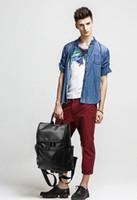 """Wholesale men s leather backpacks - 2016 new leather men """"s shoulder bag leisure backpack Korean travel bag school bag backpack"""
