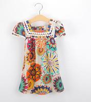 Wholesale Retro Dresses For Girls - Girls Dresses Fashion Retro Pattern Dress Kids Floral Top For 2~8 Year Kids 5 p l