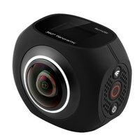 уникальный hd оптовых-4K HD 360 панорамная камера VR Mini Handheld уникальный двойной объектив спортивная камера WiFi видео действий спортивная камера PANO360 + пульт дистанционного управления