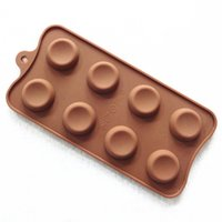 Wholesale Button Chocolate Mold - Sale! Creative Accessories Diy Cupcake Bake 8-hole Buttons-shaped silicone chocolate cake mold jelly pudding Soap Easter