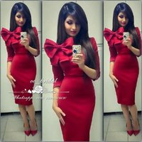 Wholesale Big Red Satin Bow - Sexy Dubai Red Mermaid Cocktail Party Dresses With Big Bowknot Long Prom Gowns Cheap Women Arabic Vestido De Festa Curto New Custom Made