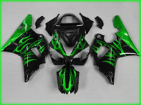 kit de carenado yzf r1 verde al por mayor-Juego de carenado Green flames black para YAMAHA YZFR1 00 01 Molde de inyección YZF R1 2000 2001 YZF1000 yzfr1 Juego de carenados