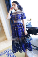 Wholesale Evening Dress Selves - 2016 Summer Self Portrait Short Sleeve Hollow Lace Women Dress Long Evening Party Maxi Dress Blue High Quality