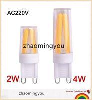 ingrosso lampadario a bulbo di filamenti-YON Dimmable G9 LED Lampada 220V Mini LED G9 Lampadina a incandescenza 2w 4W G9 Lampadina Lampadario di alta qualità Luci Caldo / Freddo Bianco