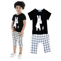 Wholesale Shorts Pants Plaid Baby Boys - Retail Bobo Choses Boy Girl Clothing Set Cartoon Rabbit Pattern T Shirt+Plaid Harem Pants Kids 2pcs Set 2016 Summer Style Baby Clothes Set