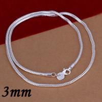 sipariş gümüş yılan toptan satış-En Kaliteli 3 MM 925 Gümüş Yılan Zincir Kolye Moda Takı Charm Kolye Mücevherat 16