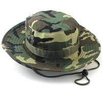 Wholesale Browning Hunting Camo Hat - 2016 Fashion Military Camouflage Camo Fisherman Hats With Wide Brim Sun Fishing Bucket Hat Camping Hunting Hat Cotton bucket hat for men