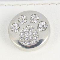 Wholesale European Beads Bear - wholesale silver Noosa chunks bear dog paw snaps button jewelry