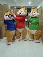 karnevals-party kostüme für erwachsene großhandel-Alvin und die Chipmunks Maskottchen Kostüm Chipmunks Cospaly Cartoon Charakter Erwachsenen Halloween Party Kostüm Karneval Kostüm