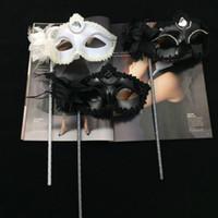 Wholesale Mardi Gras Side Face Masks - Black White Party Masks On Stick Sexy Eyeline Masquerade Mardi Gras Halloween masks Sexy beads eyeliner side Flower masks