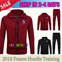 Wholesale Hoodie Suits - 2017 TOP France Soccer Jacket Kits Track suit Football Hoodie Training Suit Red Black 16 17 Football TrackSuit survetement Maillot Shirts