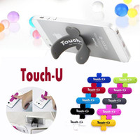 Wholesale tablet stander - Universal Portable Touch-U One Touch Silicone Stand Holder Stander Cell Phone Mounts For iPhone Samsung HTC Sony Mobile Phone iPad Tablet