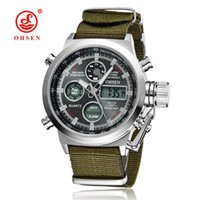 Wholesale Quartz Canvas Watch - 2017 OHSEN Digital Quartz LED Waterproof Mens Watches Wristwatches Canvas Brand Black Alarm Date Military Business Male Hand Clcoks Horloge