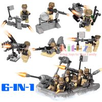 Wholesale Ops Military - Kitoz US Navy Marine Special OP Force Duty Call Army Warfare Hull Inflatable Boat Building Block Toy Military Collection For Boy