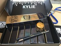Рождественский подарок оптом! Kylie Cosmetics Kylie Kyliner In Brown / Black / gold Kyliner Kit Birthday Edition Dark Bronze Set Бесплатная доставка