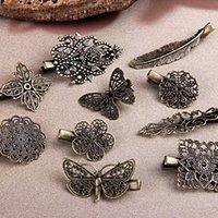 Wholesale Hair Clips Bronze - Exquiiste Free Shipping 20pcs Mix Shape Antique Bronze Metal Alligator Hair Clips,Hair Clips & Bobby Pins