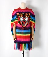 Wholesale Knitting Sweater Design Patterns - 2017 Autumn Cat Head Pattern Rainbow Striped Knitwear Women's Embroidered Sequins Knitted Top Sweater Fashion Design Knit Cape Tassel Cloak